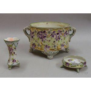 Three Nippon-type Porcelain Items