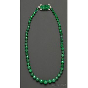 Art Deco Jadeite Bead Necklace