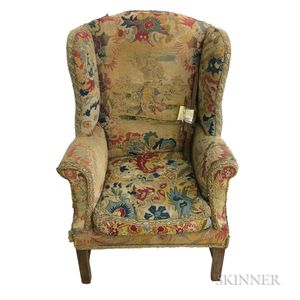 Georgian-style Tapestry-upholstered Wing Armchair
