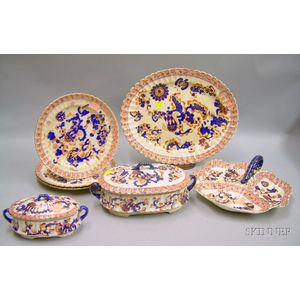 Seven Pieces of English S.F. & Co. Transfer Indian Pattern Tableware