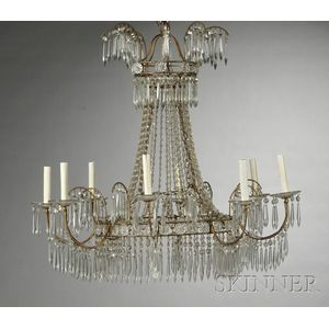 Pair of Regency-style Eight-light Chandeliers