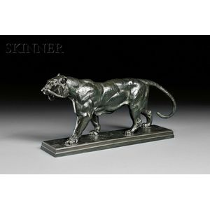 Antoine-Louis Barye (French, 1796-1875)      Tigre qui marche (sur plinthe)   [Walking Tiger (On a Plinth)]