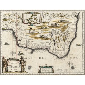 Brazil. Willem Janszoon Blaeu (1571-1631) Novus Brasiliae Typus.