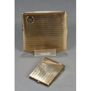 14kt Gold Cigarette Case and a Similar Gold-plated Match Case
