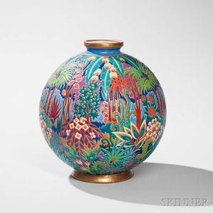 Longwy Faience Art Pottery Vase