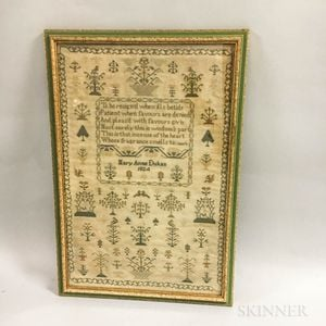 "Framed ""Mary Anne Dukes"" Needlework Sampler"