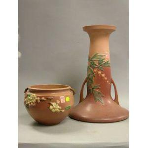 Roseville Pottery Apple Blossom Jardiniere and Bleeding Heart Pedestal.