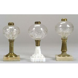 Three Pressed Colorless Glass Fluid Lamps