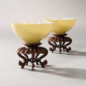 Rare Pair of Lemon Yellow-glazed Wine Cups