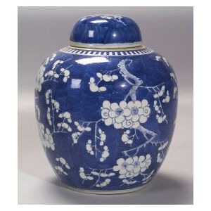 Blue and White Chinese Export Porcelain Jar with Cover