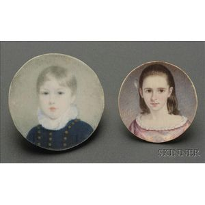 Two Portrait Miniatures of a Girl and a Boy