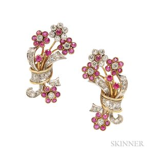 Retro Gold, Ruby, and Diamond Flower Earclips