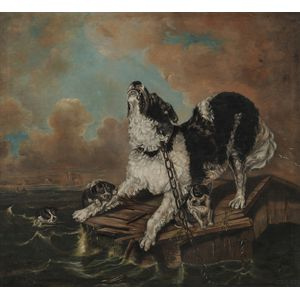 Manner of Edwin Henry Landseer (British, 1802-1873)      Dog and Pups in Peril at Sea