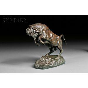 Antoine-Louis Barye (French, 1796-1875)      Taureau cabré   [Rearing Bull]