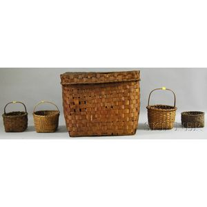 Large Covered Woven Splint Basket and Four Small Woven Splint Open Baskets