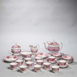 Pink Lusterware Rose Tea Set