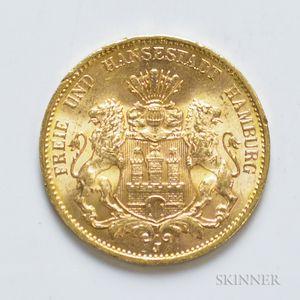 1913-J German 20 Mark Gold Coin, KM618