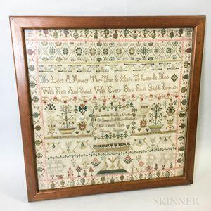 """Framed """"Mary Ann Houlden"""" Needlework Sampler"""