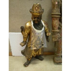 Gilt and Paint Decorated Carved Wood Salada Tea Chinaman Advertising Figure.