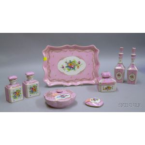 Seven-piece French Hand-painted Floral and Pink Decorated Porcelain Dresser Set