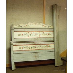 Late Victorian Polychrome Painted and Carved Floral Decorated Wooden Bed