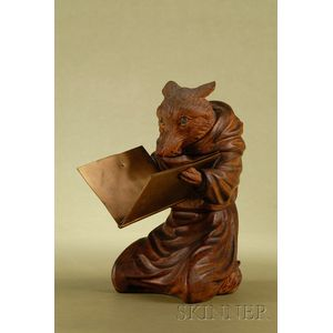Whimsical Black Forest Carved Walnut Figure of Monk Fox