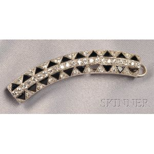 Art Deco Platinum, Onyx, and Diamond Hair Clip, Cartier, France