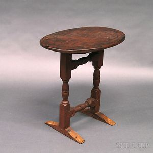 William and Mary Oval-top Trestle-base Table