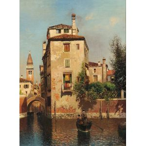 Henry Pember Smith (American, 1854-1907)      A Small Canal, Venice