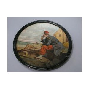 Oil On Plaster Roundel Of A French Soldier