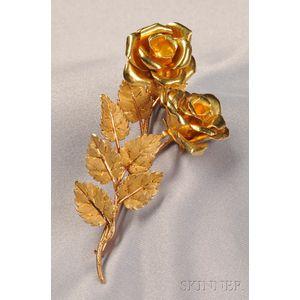 18kt Gold Rose Brooch, M. Buccellati