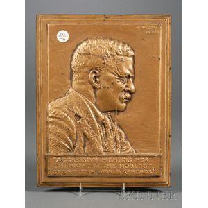 Teddy Roosevelt Bronzed Iron Bas Relief Plaque