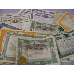 Twenty-one Assorted Late 19th and Early 20th Century Stock Certificates