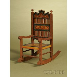Miniature Bliss Lithographed Paper and Pressed Oak Rocker