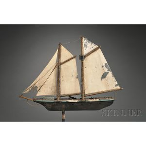 Painted Wood and Sheet Metal Schooner Yacht Weather Vane