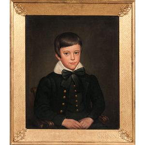 Deacon Robert Peckham (Massachusetts, 1785-1877)      Portrait of a Young Blue-eyed Boy