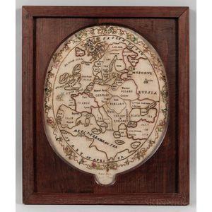 Silk Needlework Map of Europe