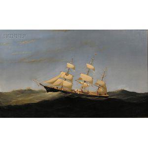 Alexander Charles Stuart (American, 1831-1898)      Black Ball Line Ship, Yorkshire