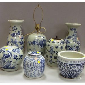 Seven Blue and White Asian Porcelain Items