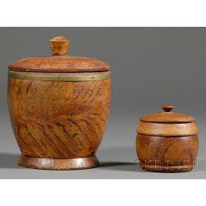 Two Turned and Painted Putty-decorated Covered Wooden Jars