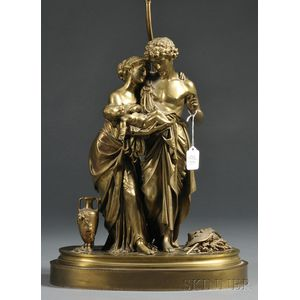French Dore Bronze Figural Lamp Base