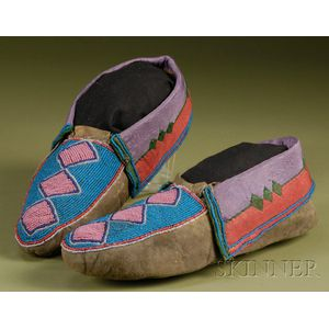 Prairie Beaded Hide and Cloth Moccasins