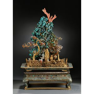 Large, Elaborate Gilt and Cloisonne Mt. Penglai Island