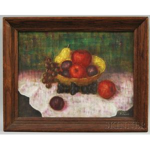 American School, 20th Century      Still Life with Bowl of Fruit.