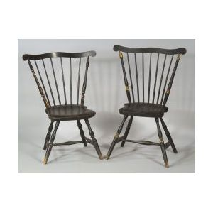 Two Similar Painted Fan-back Windsor Side Chairs