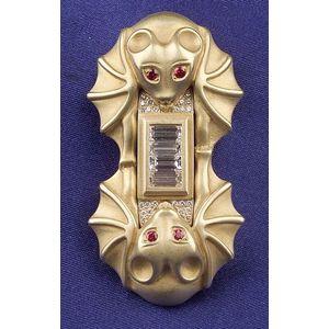 "18kt Gold, Ruby, and Diamond ""Bat"" Brooch, B. Kieselstein Cord"
