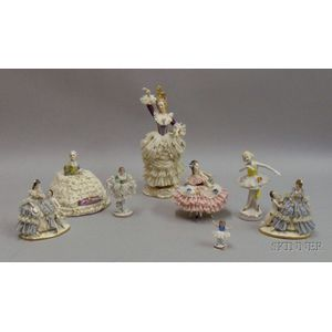 Eight Crinoline Figurines