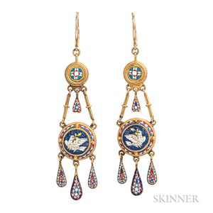 Antique Gold and Micromosaic Earrings