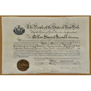 Roosevelt, Theodore (1858-1919) Signed Military Commission, 6 February 1899.