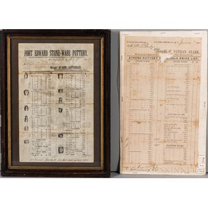 Two Printed Stoneware Price Lists